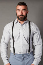 Skinny Black Leather Suspenders
