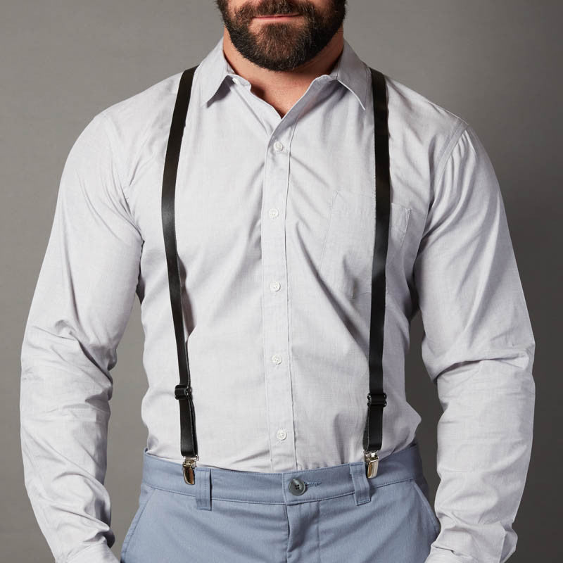 Black Leather Skinny Suspenders For Men