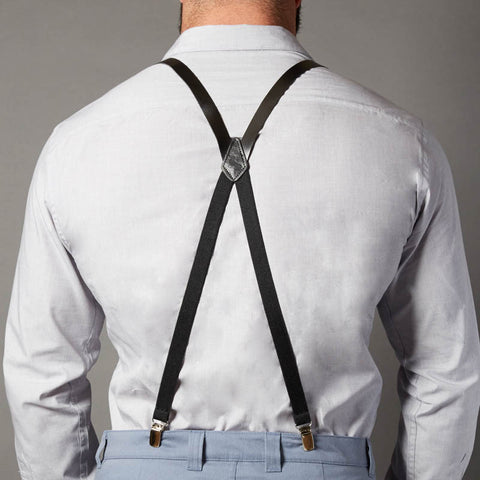 Black Leather Skinny Suspenders