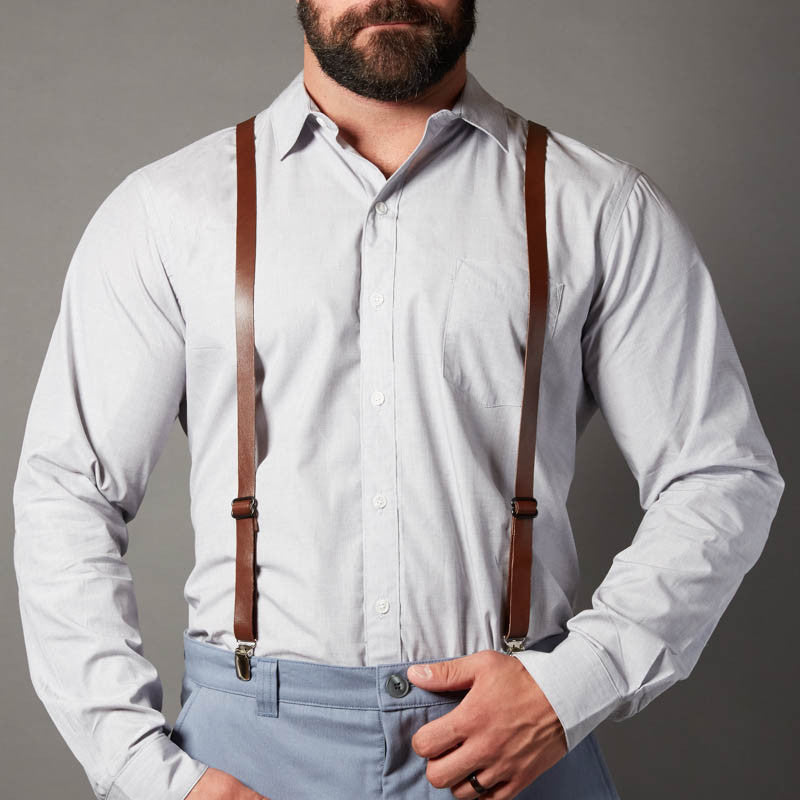 Brown Leather Skinny Suspenders For Men