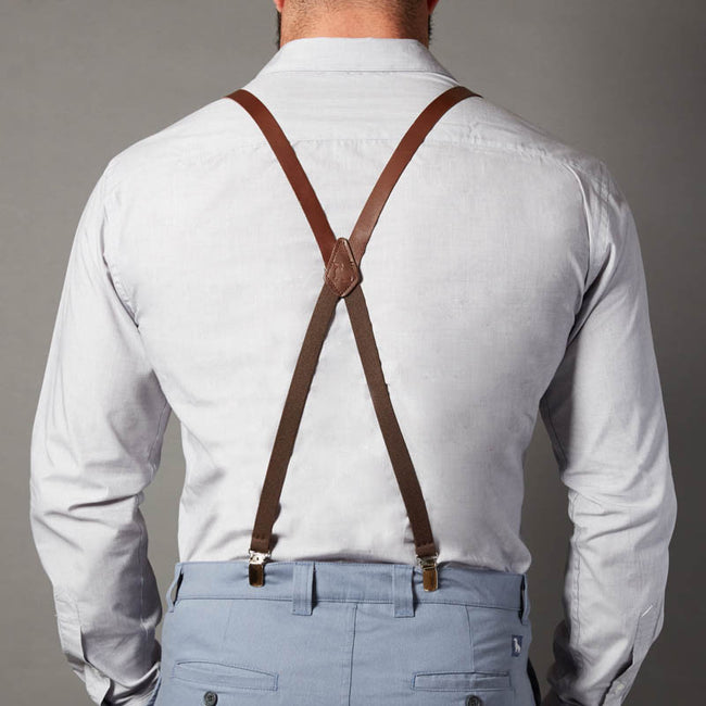Skinny  Leather Suspenders