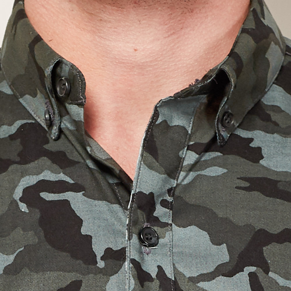 Blue, Gray & Black Camo Print Shirt - JOEY