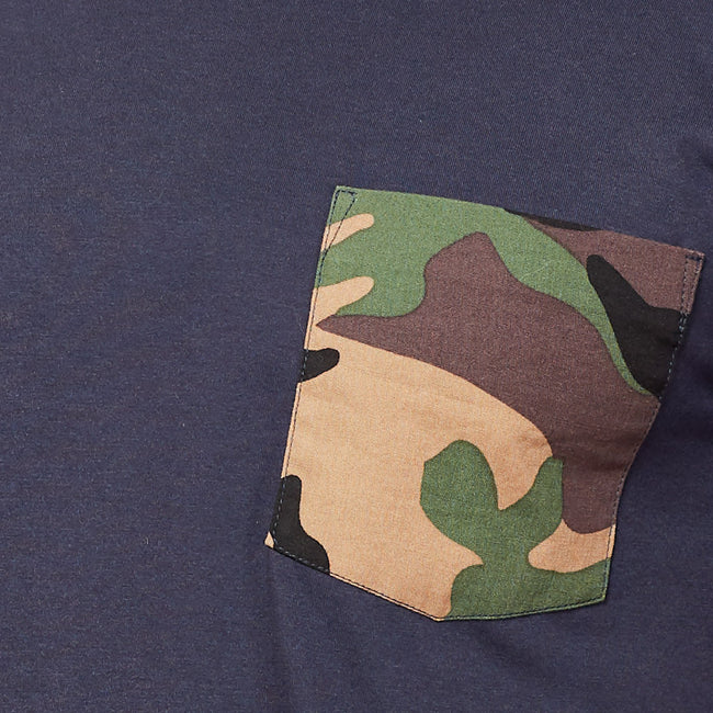 Navy with Green Camo Print Pocket Tee