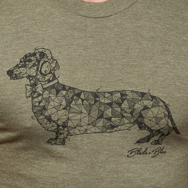 Olive Green Hand-Drawn Dachshund with Headphones Tee