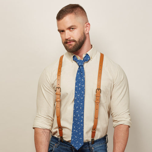 Buckle Leather Suspenders