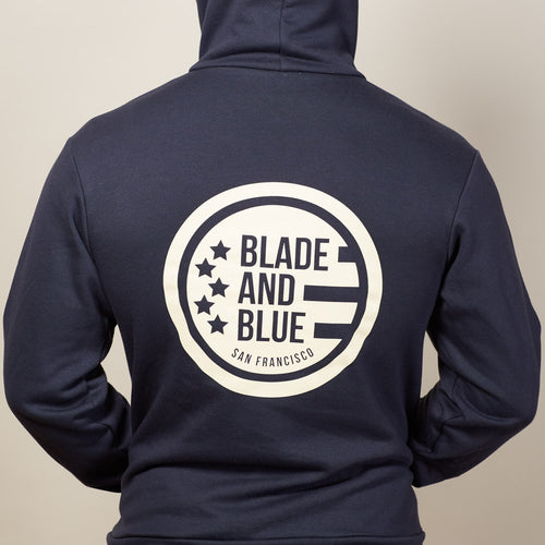 Navy Blade + Blue Crest Hoodie Size M Available