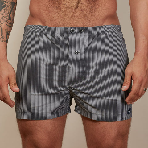 Grey & White Stripe Boxer Short - Gregg