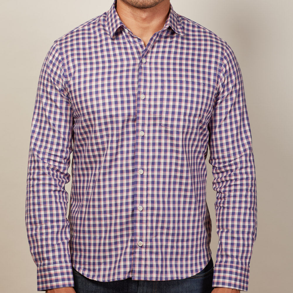 Purple Pink White Check Cotton Long Sleeve Shirt Made In