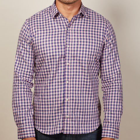 Purple, Pink & White Check Shirt - Patrick