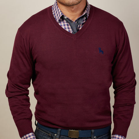 Berry Wine V-Neck Sweater