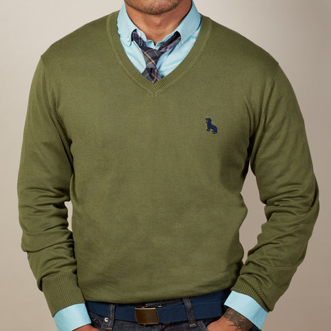 Olive Green V-Neck Sweater