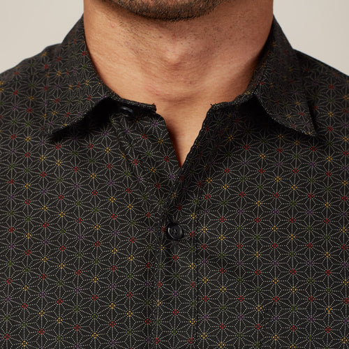 Black Traditional Japanese Geometric Floral Print Shirt - Clark