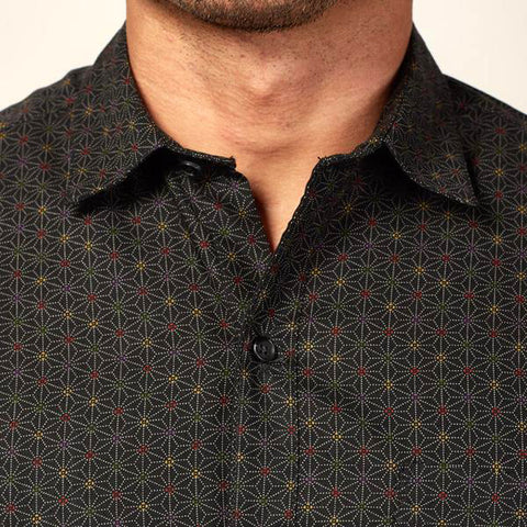 Navy Blue Mini Japanese Flower Print Shirt - 'Moser'
