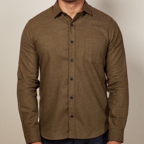 Solid Dark Olive Flannel Shirt - Alejandro