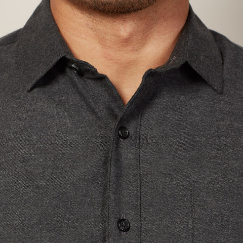 Solid Charcoal Brushed Cotton Shirt - Marks