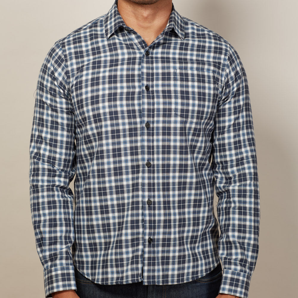 White, Blue & Grey Plaid Flannel Shirt - Benny
