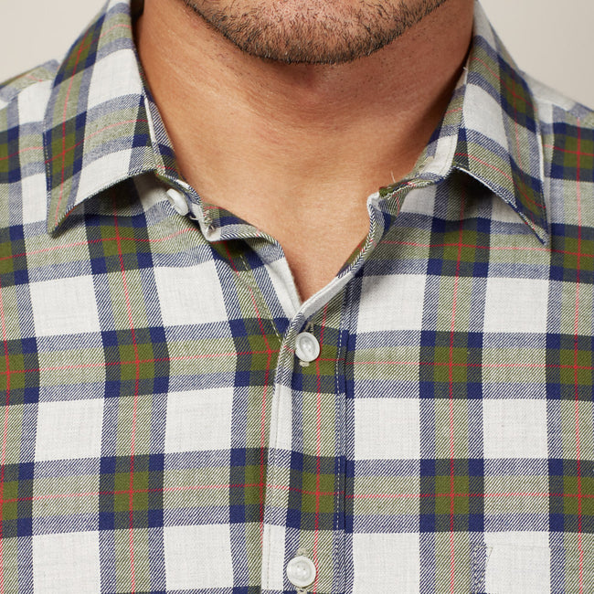 Heather Grey, Olive & Navy Plaid Brushed Cotton Shirt - Dougie