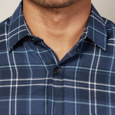 Tonal Blue & White Flannel Plaid Shirt - Nigel