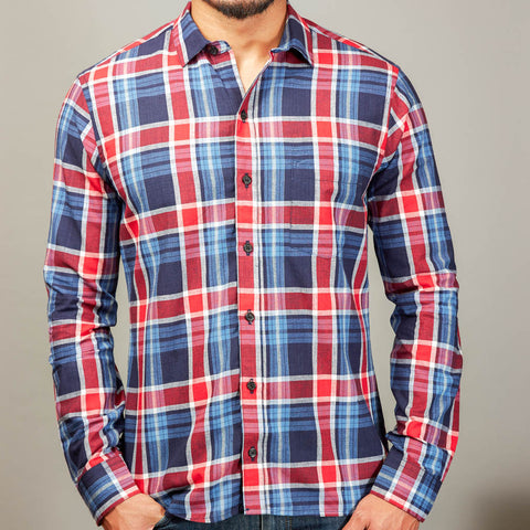 Navy, Bright Blue & Red Plaid Shirt - Glenn