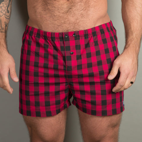 Berry Red & Black Buffalo Plaid Boxer Short - Zachary