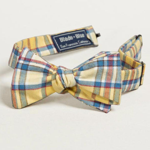Yellow & Blue Plaid Cotton Bow Tie