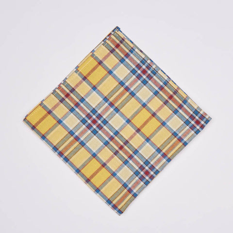 Gold Yellow & Blue Plaid Cotton Pocket Square