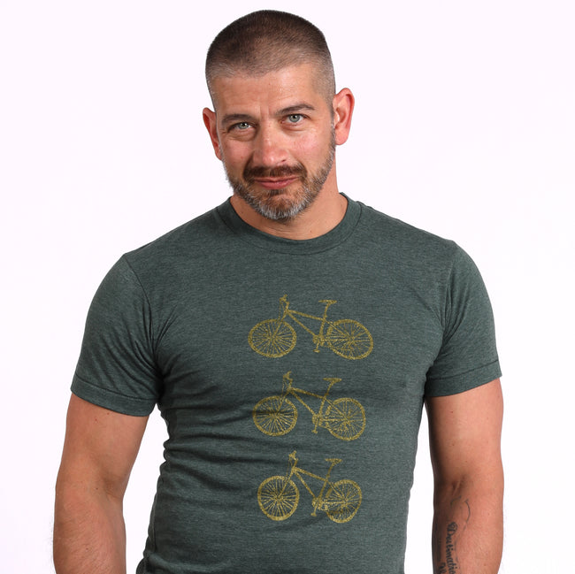 Provincetown Green Stacked Bikes in Bronze Tee Size L Available
