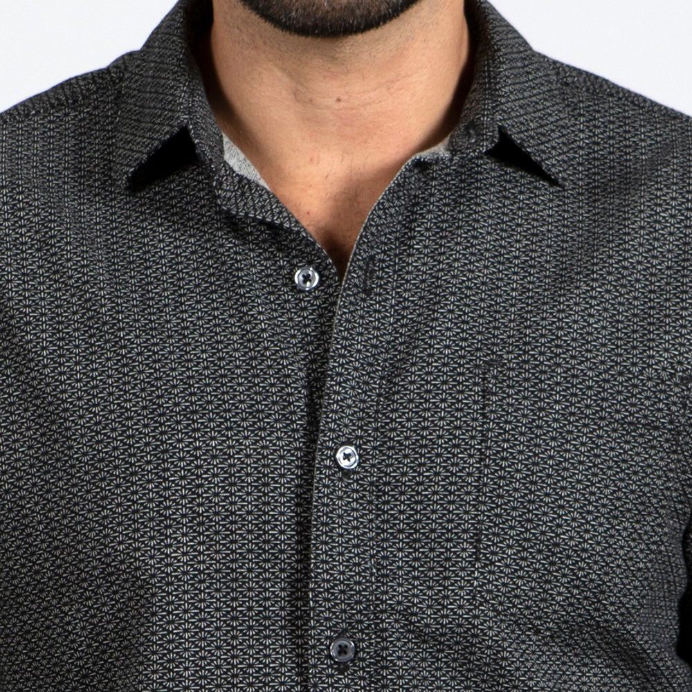 Black Traditional Japanese Spiky Diamond Print Shirt - 'Watson'