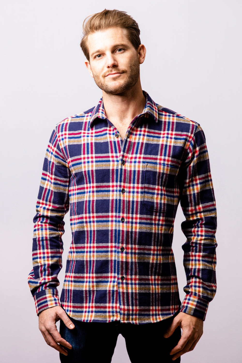 Navy Blue Multi Plaid Heavyweight Flannel Shirt - Carlton