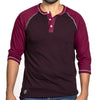 SALE THIS WEEKEND ONLY Burgundy & Cranberry Contrast 3/4 Raglan Sleeve Henley