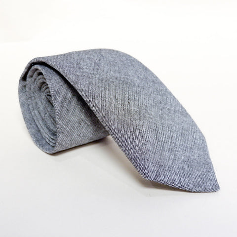 Solid Grey Chambray Tie