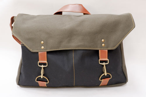 Olive & Black Canvas Messenger Bag