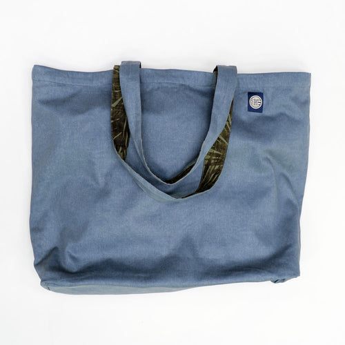 Olive Green Botanical Print & Solid Steel Blue Reversible Jumbo Tote Bag