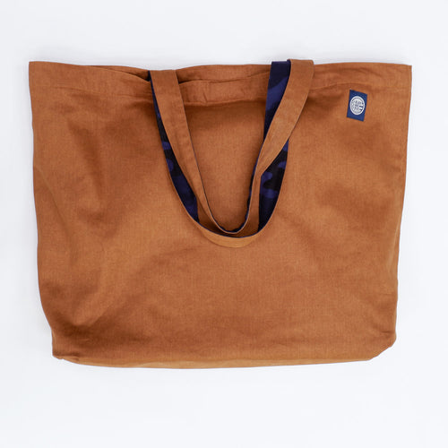 Blue Camouflage Print & Solid Copper Reversible Jumbo Tote Bag