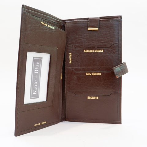 Vintage Brown Leather Travel Wallet