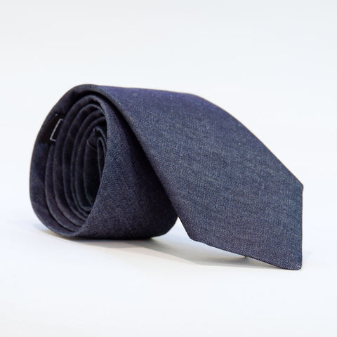 Solid Blue Denim Tie