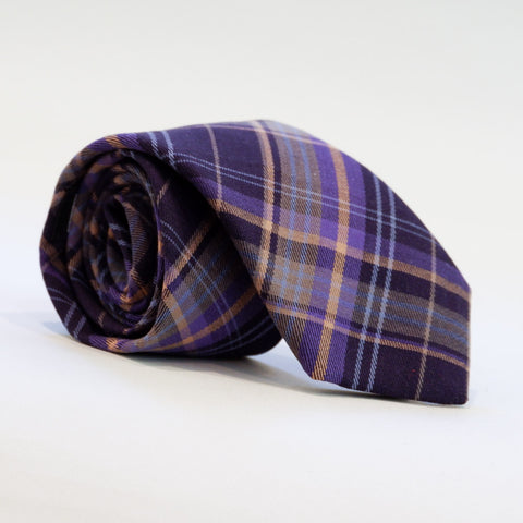 Olive Plaid Brushed Cotton Tie