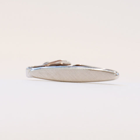 Vintage Silver Tone Ellipse-Shaped Tie Clip