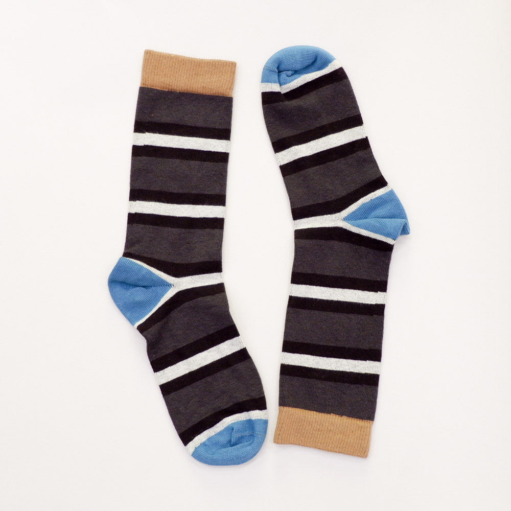 Grey & Black College Stripe Socks