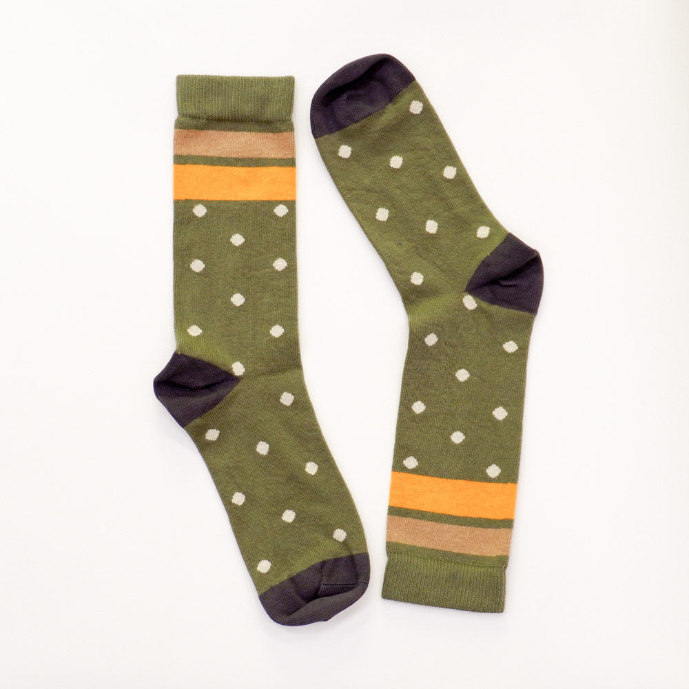 Olive & Grey Polka Dot Stripe Socks
