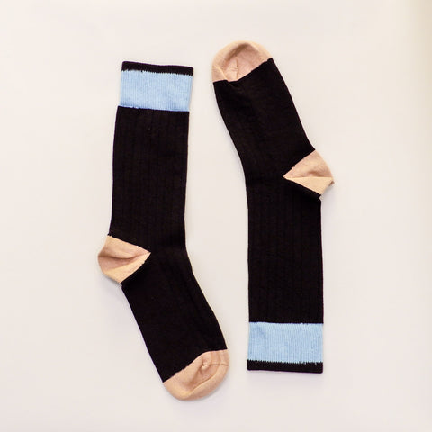 Solid Black with Camel & Blue Tipping Socks