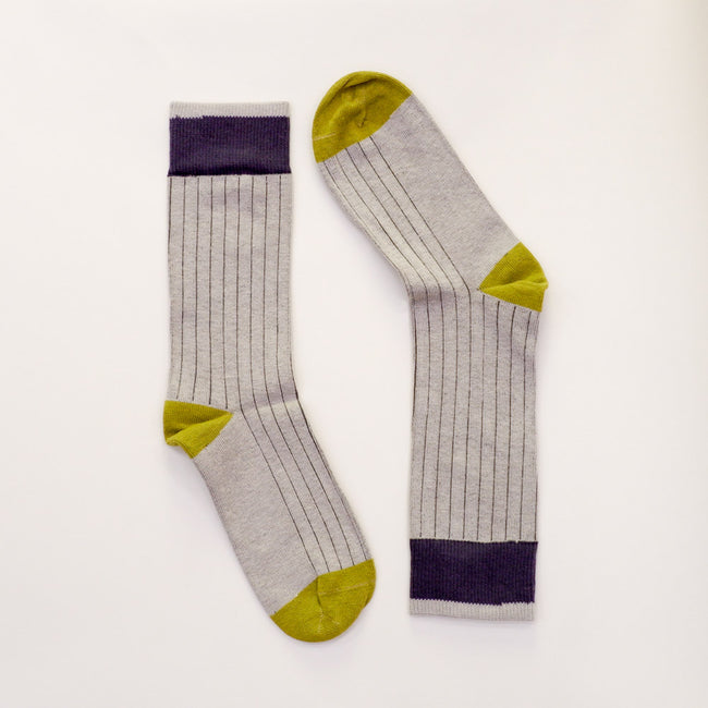 Solid Light Grey with Charcoal & Lime Tipping Socks