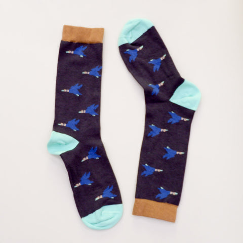 Navy Blue Flying Duck Print Socks