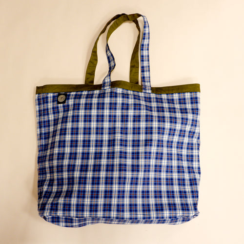 Olive and Plaid Reversible Jumbo Tote Bag