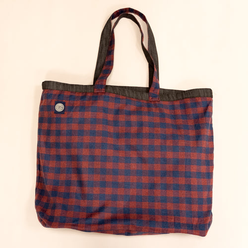 Denim Buffalo Plaid Jumbo Tote Bag