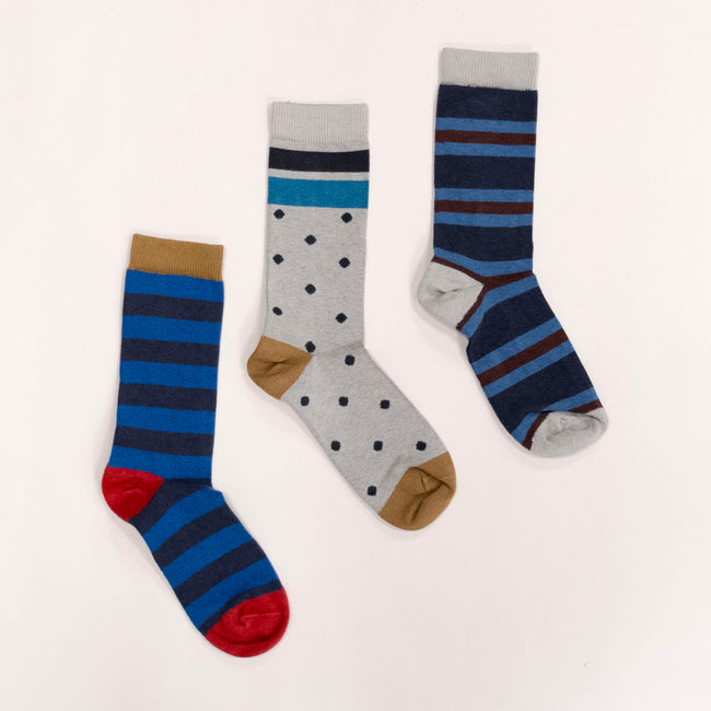 Grey & Blue Polka Dot Stripe Socks