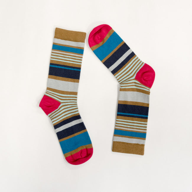 Camel, Navy Blue & Mint Stripe Socks