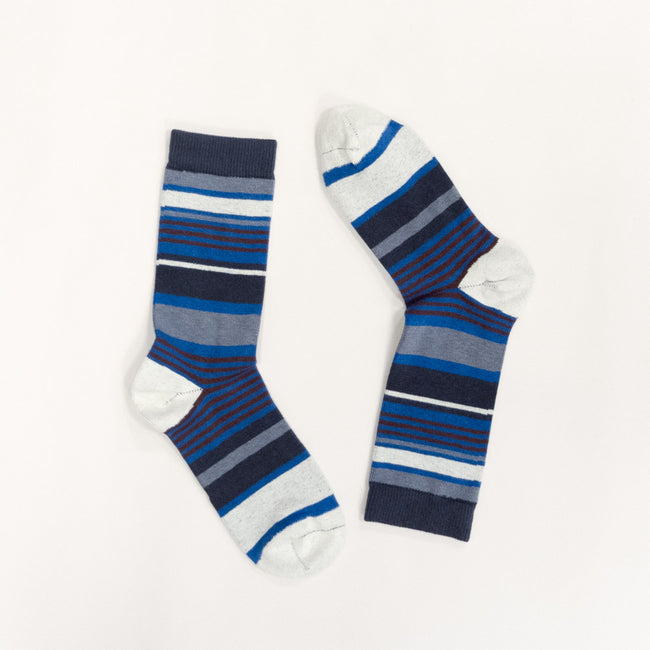 Grey Heather, Royal Blue & Burgundy Variegated Stripe Socks