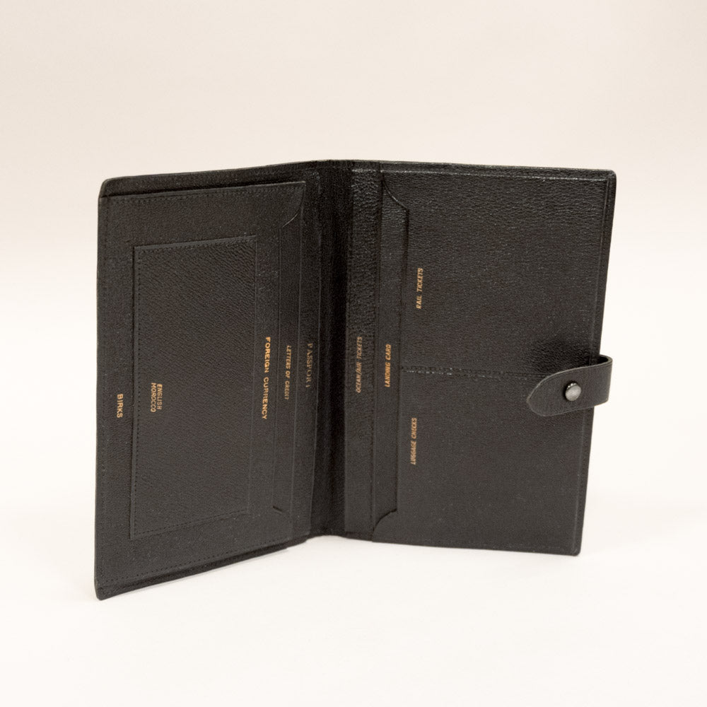 Vintage Black Leather Passport Holder, Travel Wallet