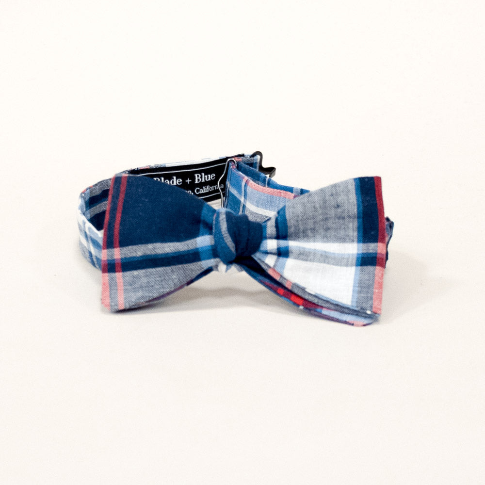 Navy Blue, Red & White Plaid Bow Tie